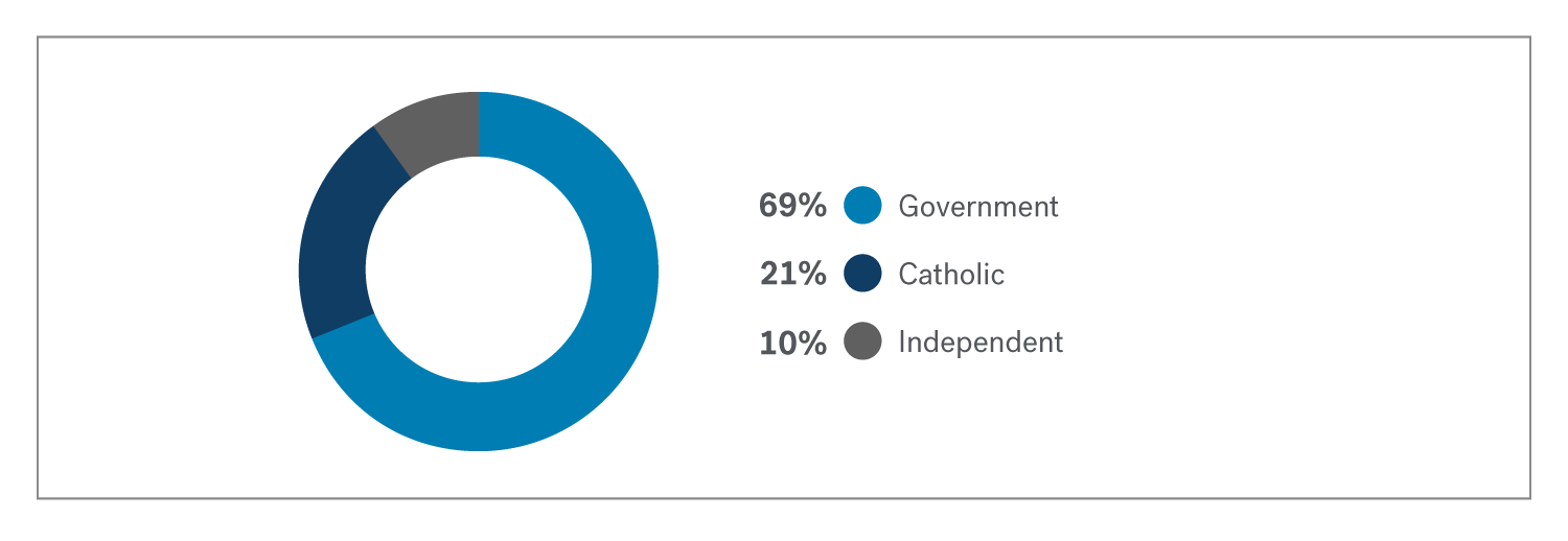 Pie chart showing that most registered schools are goverment schools